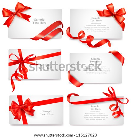 Set of beautiful cards with red gift bows with ribbons Vector - stock vector