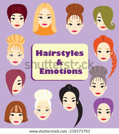set of beautiful emotional female faces with different hairstyles - stock vector
