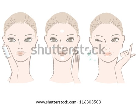 Set of Beautiful, fresh woman portrait,  Applying skincare toner and cream on her face. Winking with One finger. - stock vector