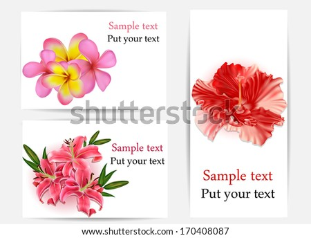 Set of beautiful gift cards with hibiscus, plumerias, and lilies, may be used for Women's Day  - stock vector