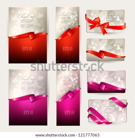 Set of beautiful Gift cards with red and pink gift bows with ribbons Vector illustration. - stock vector