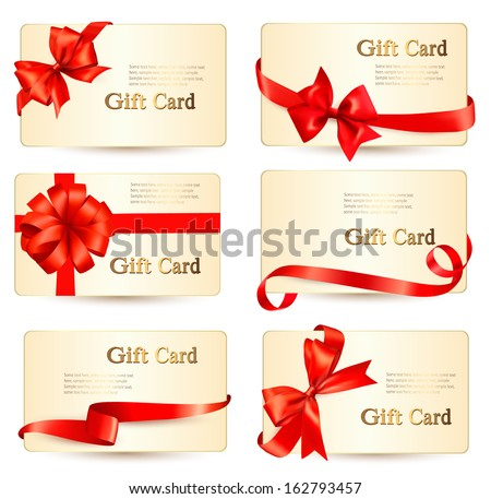 Set of beautiful gift cards with red gift bows with ribbons Vector  - stock vector