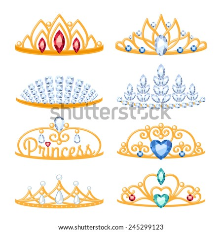 Set of beautiful golden tiaras with gemstones. Cartoon style. Jewelry collection. - stock vector