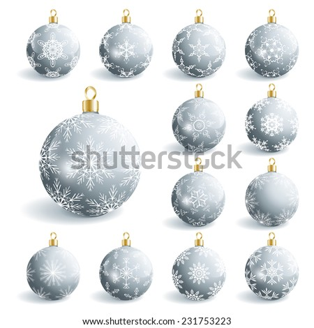 Set of beautiful grey glass Christmas balls, isolated on white background. Festive decoration, element of design. Vector illustration - stock vector