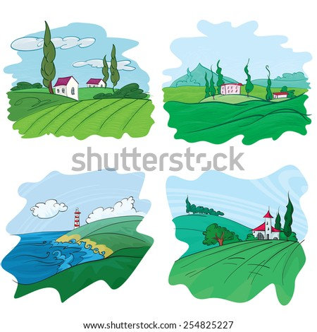 Set of Beautiful Landscape, Vector Illustration - stock vector