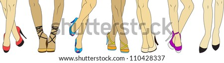 set of beautiful long, slim woman legs in fashion shoes with high heels - stock vector