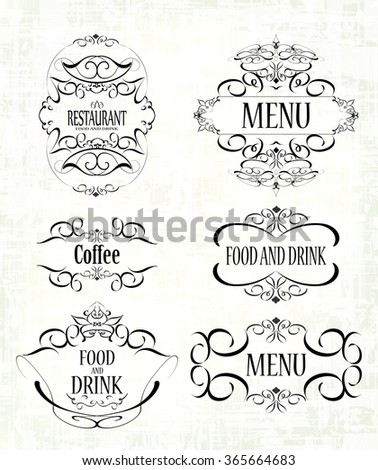 set of beautiful ornate labels for restaurant menus, cafes, bars - stock vector