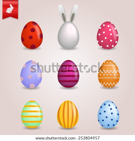 Set of beautiful realistic easter eggs - stock vector