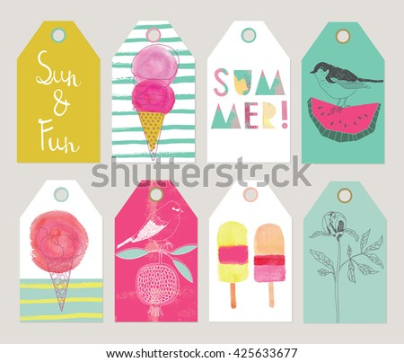 Set of Beautiful Summer gift tags and labels. - stock vector