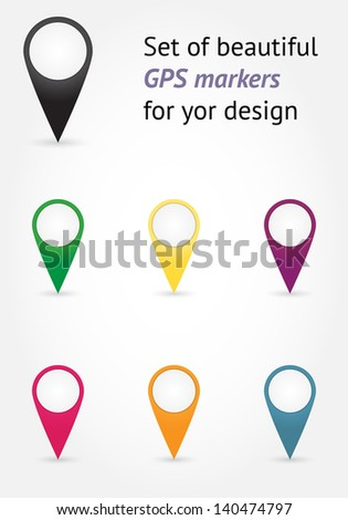 Set of beautiful vector GPS markers for your design - stock vector