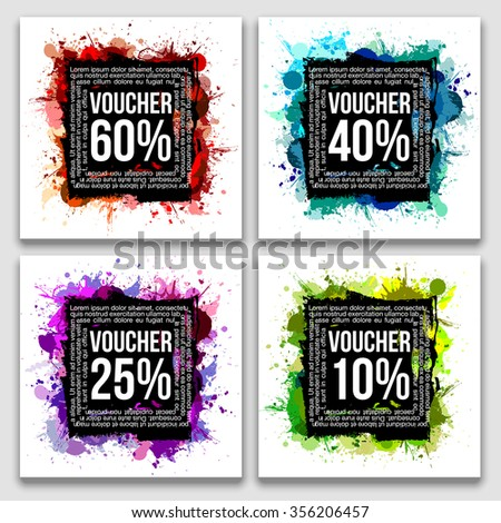 set of beautiful vector illustration fashion template gift Certificate voucher in modern design style splashes of bright colors and mascara with a white background - stock vector
