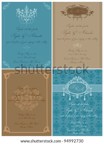 Set of Beautiful Vintage Cards - for wedding, invitation, congratulation in vector - stock vector