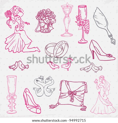 Set of Beautiful Wedding Hand Drawn Elements - in vector - stock vector
