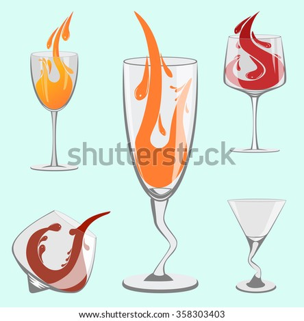 Set of beautiful wine glasses for the bar - stock vector