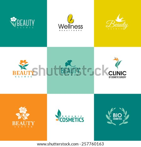 Set of beauty and nature logo templates. Icons of flowers and leaves - stock vector