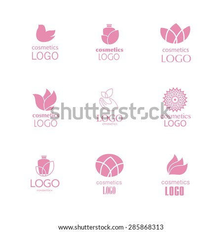Set of beauty industry, fashion logo. Identity for beauty, ecological cosmetics business, natural beauty center, spa salon. Wellness centers, yoga, medicine, clinics. Health, skin care. - stock vector