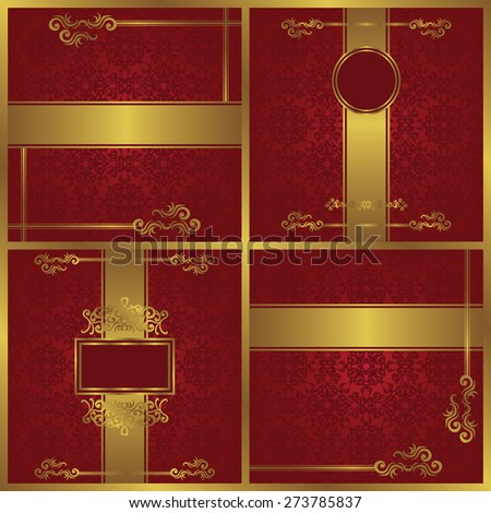 Set of beauty invitations with luxury decoration on a red background. Vintage luxury design       - stock vector