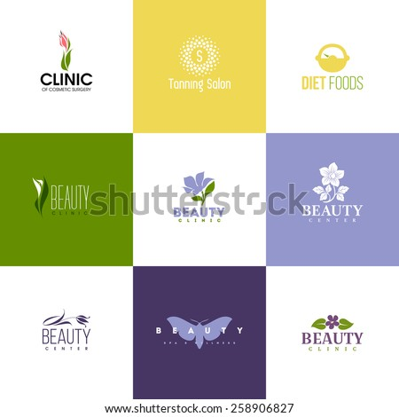 Set of beauty logo templates. Icons of flowers and leaves - stock vector