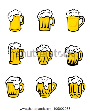 Set of beer glasses with fresh foam for pub design, such logo. Jpeg version also available in gallery - stock vector
