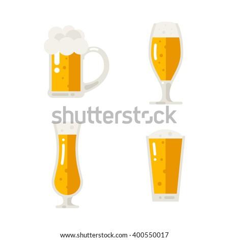 Set of beer icons. Beer bottle, glass, pint. Oktoberfest. Vector flat illustration isolated on white background. - stock vector