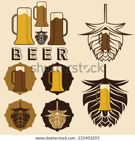 set of beer labels with mugs and hops - stock vector