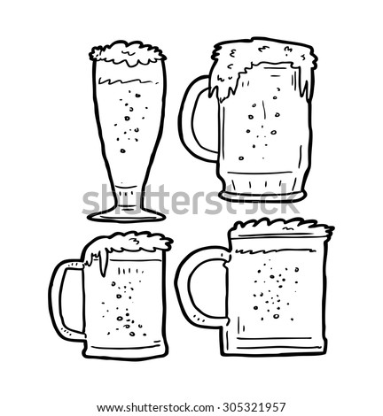 Beer Pencil Drawing Set of Beer Mug