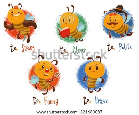 Set of bees, vector - stock vector