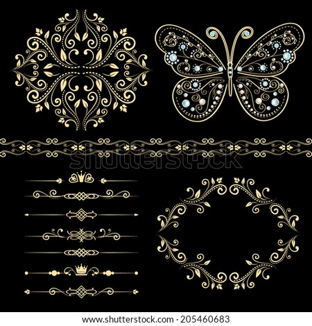 set of beige floral border, frame, pattern. with vintage butterfly with elegance ornament encrusted jewels. isolated on black background. vector illustration  - stock vector