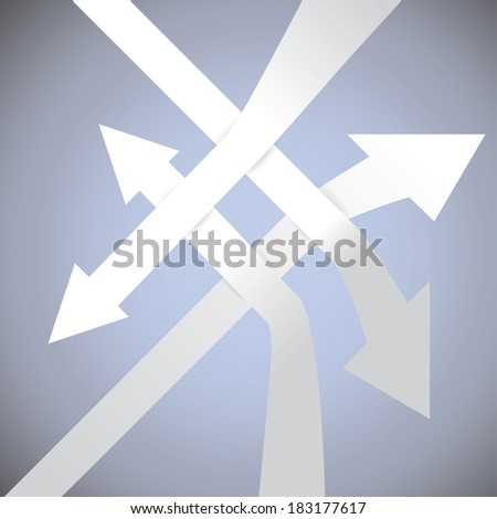 Set of bended arrows, cut of from paper, showing different directions - illustration - stock vector