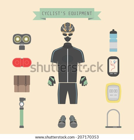 set of bicycle accessories, flat style - stock vector