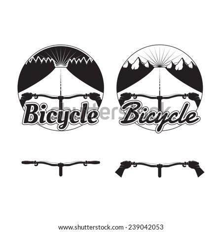 Set of bicycle logos, badges and design elements - stock vector