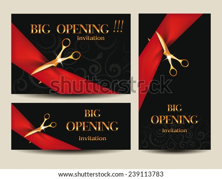 Set of big opening invitation cards with red red ribbons and scissors - stock vector