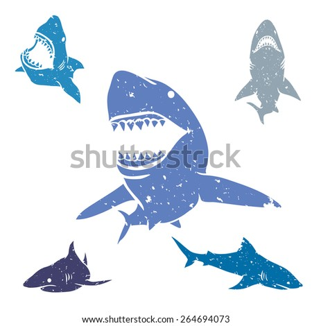 Set of big sharks with grunge style. Vector illustration.  - stock vector
