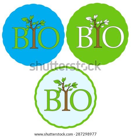 Set of bio icons - stock vector