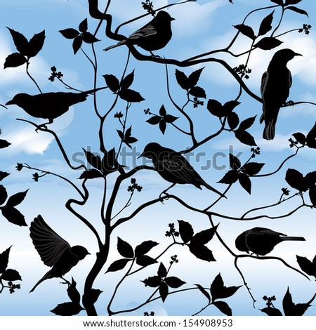 Set of birds on wires over blue sky background. Birds silhouette on branch and  leaf seamless background. Floral vector pattern. Vector ornamental illustration.  - stock vector