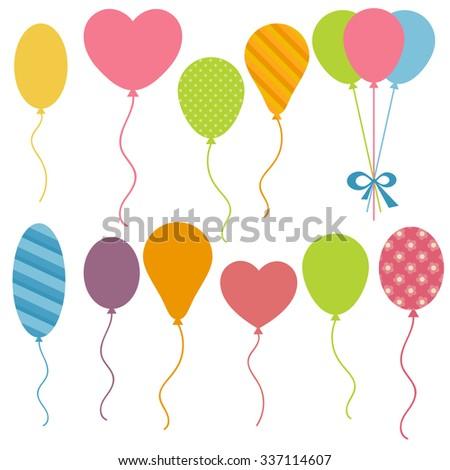 Set of Birthday balloons - stock vector