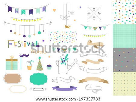 Set of birthday party elements plus four seamless patterns. Vector. Isolated. - stock vector