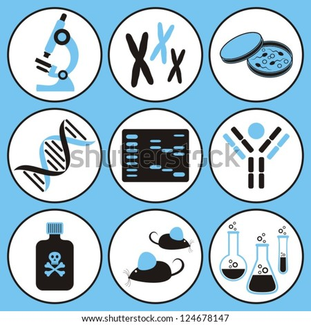 set of black and blue molecular biology science icons - stock vector