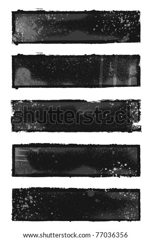 Set of 5 black and gray grunge banner designs - stock vector