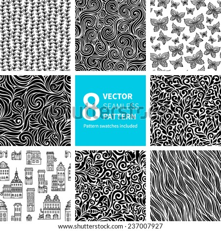 Set of black and white abstract hand-drawn patterns, seamless backgrounds. Seamless pattern for your design wallpapers, pattern fills, web page backgrounds, surface textures. Pattern swatches included - stock vector