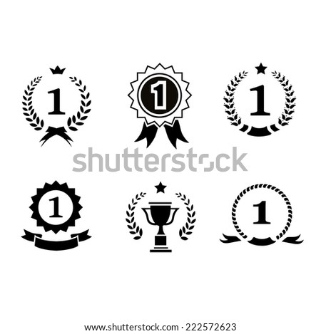 Set of black and white circular vector winner emblems and leader icons with laurel wreaths and ribbon rosettes enclosing the number 1   - stock vector
