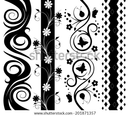 Set of black and white decoration patterns  - stock vector