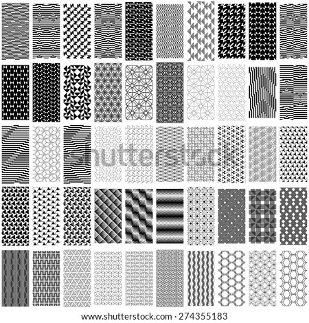 Set of black and white geometric seamless pattern. Abstract background. Vector seamless pattern. - stock vector