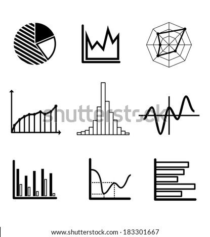 Set of black and white graphs and charts including a pie graph, bar graphs, fluctuating charts and infographics for business design - stock vector