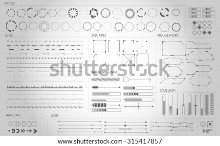 set of black and white infographic elements. futuristic user interface HUD - stock vector