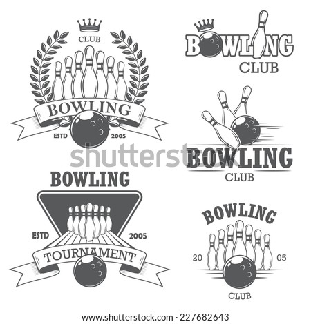 Set of black and white isolated bowling emblems, labels, badges and designed elements. Set 1 - stock vector