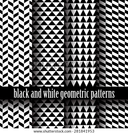 set of black and white of seamless geometric patterns - stock vector