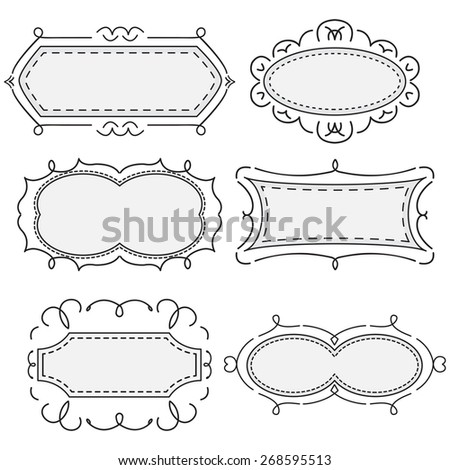 set of black-and-white pattern with vintage frames - stock vector