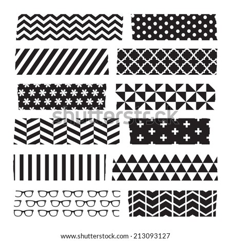 Set of black and white patterned washi tape strips - stock vector