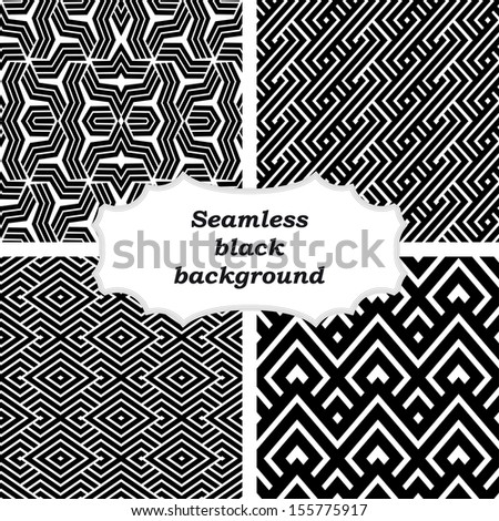 Set of black and white patterns - stock vector
